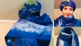 Валяный шарф и берет «Синева»