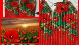 Серьги ′ маки на лужайке′