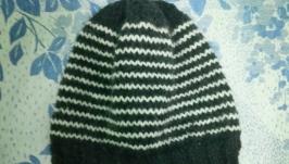 Вязаная шапка , полосатая шапка , шапка для подростка