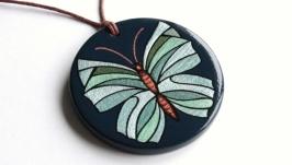 Кулон ′Бабочка′ с ручной росписью