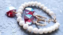 Натуральні перли та Swarovski  комлект браслет та сережки у позолоті