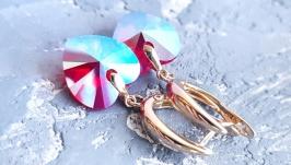 Поозолочені сережки з кристалами Swarovski  подарунок дівчині на 8 березня