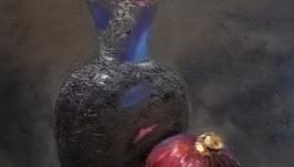 КАРТИНА Натюрморт с вазой и луком, холст, масло, мастехин, размер 50х60 см