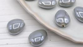 Бусина капля фарфор керамика 17х14 мм серый