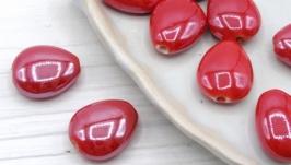 Бусина капля фарфор керамика 17х14 мм красный