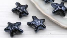 Бусина звезда фарфор керамика 18х10 мм черный синий