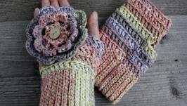 Короткие митенки бохо хлопковые Весенние перчатки без пальцев с цветком