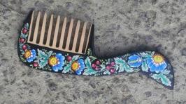 Расчёска деревянная чёрная с росписью