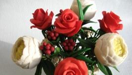 Интерьерная композиция ′Букет пионов и роз′ из холодного фарфора.