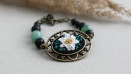 Зеленый агатовый браслет с лилией Браслет из натуральных камней для девушек