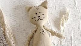 Еко іграшка з льону для самих маленьких. Кіт з ініціалами. Літера А.
