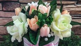 Букет  ′Гардения и тюльпаны
