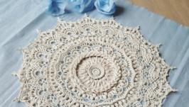 Красивая вязаная салфетка ручной работы - уютный домашний декор