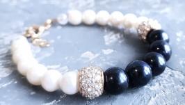 Браслет з натуральних перлів та кристалів