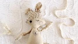 Еко іграшка з льону для самих маленьких. Лисеня з ініціалами. Літера В.