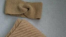 Комплект вязаных аксессуаров шарф и повязка на голову ′Крокус′