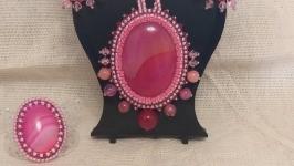 Комплект-мини с агатами розового цвета