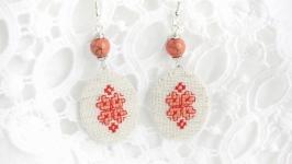 Красные серьги с кораллами под вышиванку Украшения бохо на лето