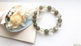 Женский браслет из натуральных камней лабрадора и цитрина