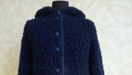 вязаное пальто с сумкой