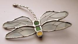 Брошь - стрекоза с прозрачными крыльями