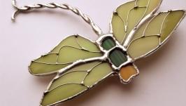 Брошь - стрекоза с зелёными крыльями