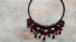 Колье чокер , ожерелье , массивное украшение на шею , чокер с агатом