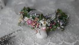 Вінок весняний на голову з лавандою та крокусами. Венок с цветами