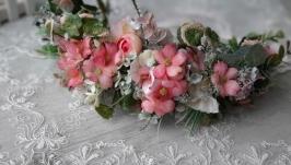 Вінок літній на голову в рожевих  тонах. Венок с цветами
