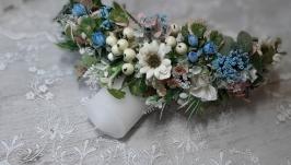 Вінок літній на голову в блакитних та білих  тонах. Венок с цветами