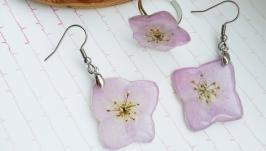 Набір прикрас із ніжно рожевими гортензіями в ювелірній смолі