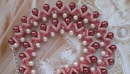 Колье, ожерелье, намисто бордовое из бисера ручной работы