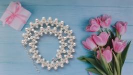 Колье, ожерелье, намисто белое из бисера ручной работы