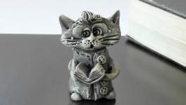 Фігурка кота подарунок котик з книжкою сувенир Кот ученый