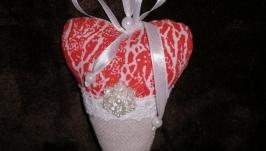 Валентинки сердечко текстильные