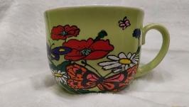 Чашка расписанная вручную ′Цветочная поляна′