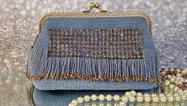 Вязаная сумка из бисера в стиле Great Gatsb, клатч на металическом фермуаре