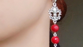 Сережки ′Червона лілія′ (корал)