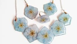 Набір прикрас із синіми гортензіями у ювелірній смолі