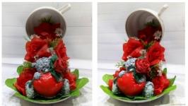 Парящая чашка с мишками Тедди. Подарок на 14 февраля День влюбленных.