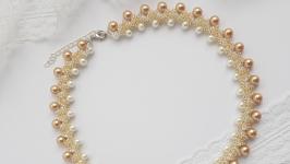 Колье, ожерелье, бусы, намисто бело-золотое ручной работы