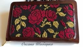 Жіночий гаманець, шкіряний гаманець, гаманець з вишивкою