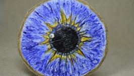 Синє око. Олійна фарба на дереві.