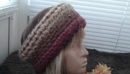 Женская вязаная шапка  Кофе со сливками