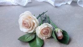 Шпильки для волосс Свадебные шпильки в прическу Шпильки с розами цвет пудра
