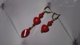 Сережки асиметричні червоні