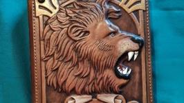 Блокнот ′ЦАРЬ ЗВЕРЕЙ′ с инициалами (Ежедневник в кожаной обложке)