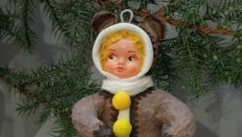 елочная игрушка из ваты ′медвежонок′