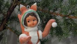 елочная игрушка из ваты ′белочка′