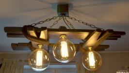 Деревянная люстра с лампами Эдисона